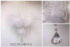 White Crystal Pearl Mobile Baby Girl Nursery Tulle Handmade Mobile Shower Gift